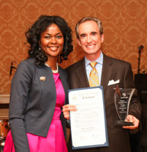Sonia Marshall-Brown with Colin Gillespie, President of Lego Education