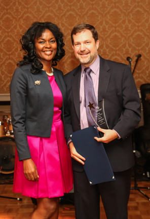 Sonia Marshall-Brown with honoree Dr. Brian Osborne, Superintendent City School District of New Rochelle